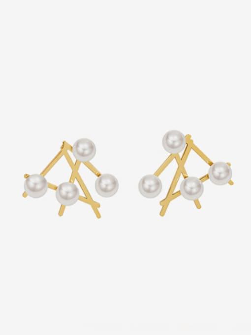 MAKA Titanium Steel Imitation Pearl Irregular Minimalist Stud Earring 0