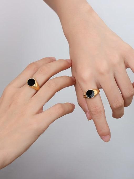 A254 gold ring Titanium Steel Enamel Geometric Vintage Band Ring