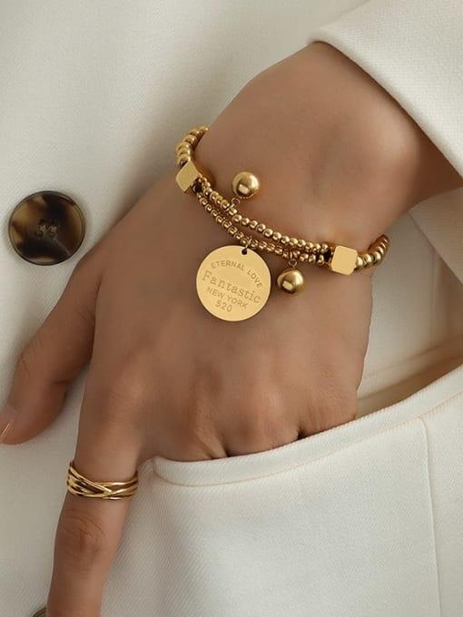 MAKA Titanium Steel Geometric Vintage Beaded Bracelet 3
