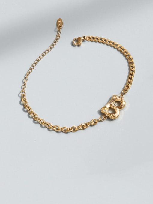 Gold bracelet 16.5cm Titanium Steel Geometric Chain Vintage Link Bracelet