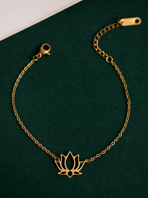 YAYACH Stainless steel Gold Flower Minimalist Link Bracelet 1