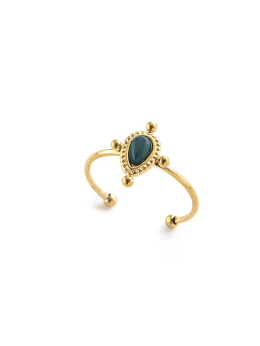 blackish green Round retro simple stainless steel ring inlaid with natural stone drops