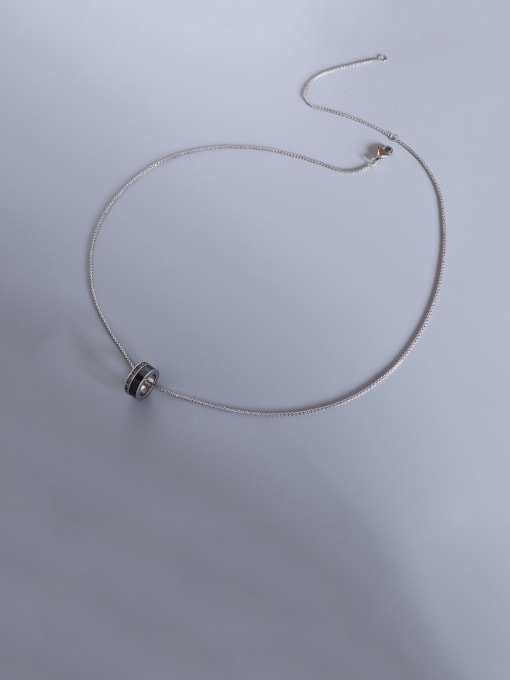 Steel color Titanium Steel Cubic Zirconia Geometric Vintage Necklace