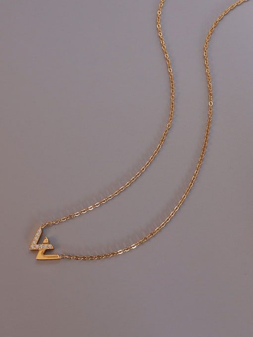 MAKA Titanium Steel Cubic Zirconia Minimalist Letter W  Necklace 2