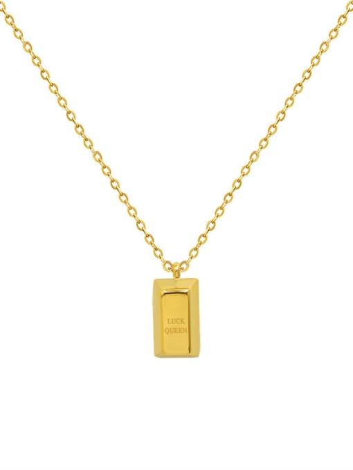 MAKA Titanium Steel Geometric Minimalist Letter Pendnt  Necklace