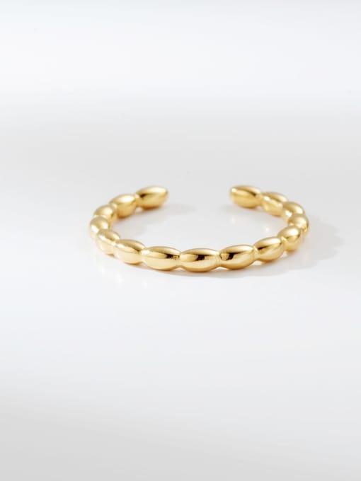 Gold Doudou round simple titanium steel ring
