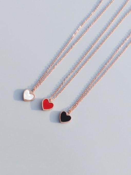 MAKA Titanium Steel Enamel Heart Minimalist Necklace 3