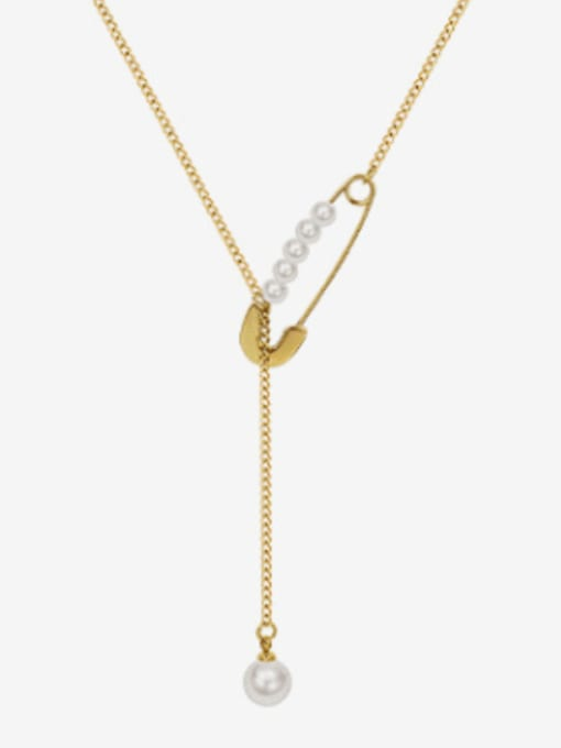 Gold Tassel Necklace 45+4cm Titanium 316L Stainless Steel Geometric Vintage Lariat Necklace with e-coated waterproof