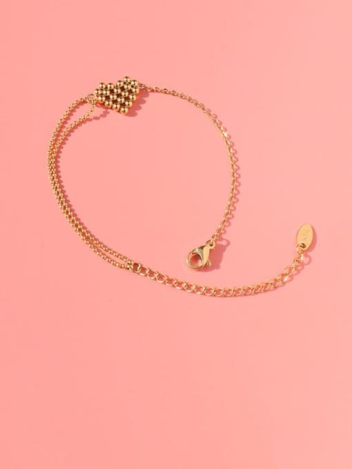 MAKA Titanium Steel Bead Heart Vintage Link Bracelet 0