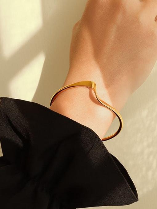 MAKA Brass Smooth Geometric Minimalist Cuff Bangle 1