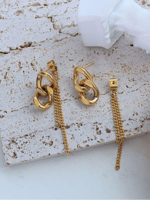 F480 Gold Chain Earrings Titanium Steel Tassel Hip Hop Threader Earring