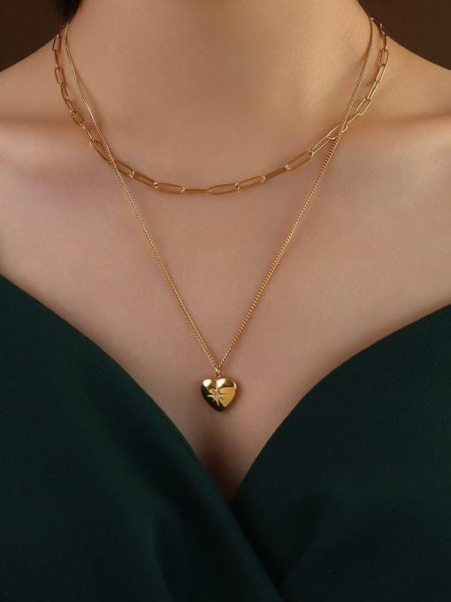 Gold Titanium Steel Heart Minimalist Multi Strand Necklace