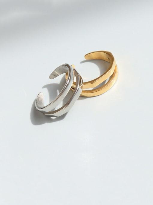 MAKA Titanium Steel Geometric Minimalist Stackable Ring 1