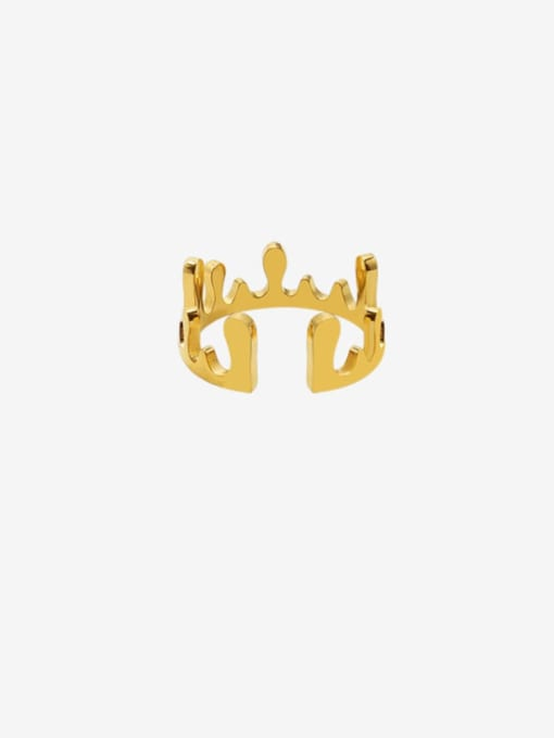 Gold Titanium Steel Smooth Crown Cute Band Ring