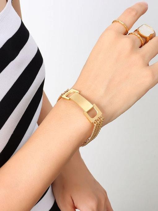 E019 gold bracelet 17 +5cm Titanium Steel Geometric Minimalist Link Bracelet