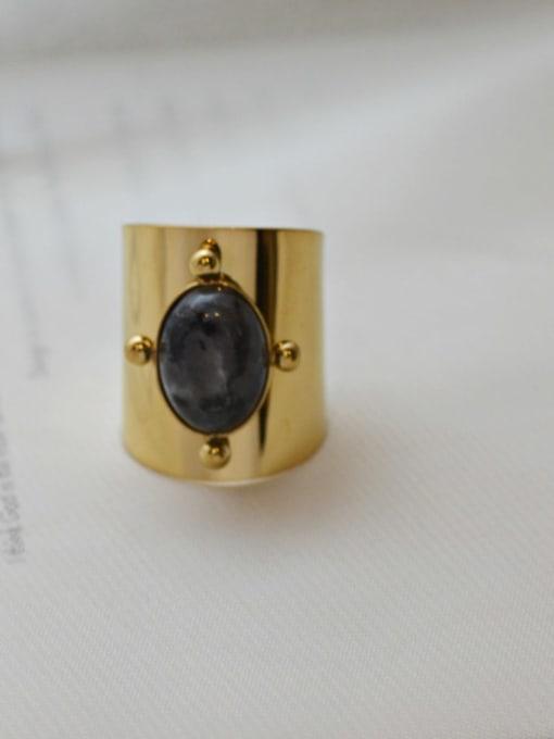 Dark brown Natural stone vintage golden titanium steel ring