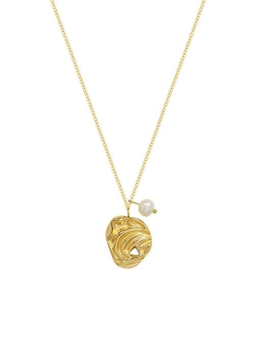 MAKA Titanium Steel Imitation Pearl Irregular Minimalist Necklace