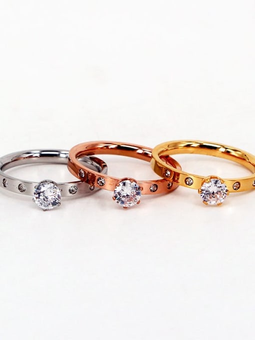 K.Love Titanium Steel Rhinestone Round Minimalist Band Ring 1