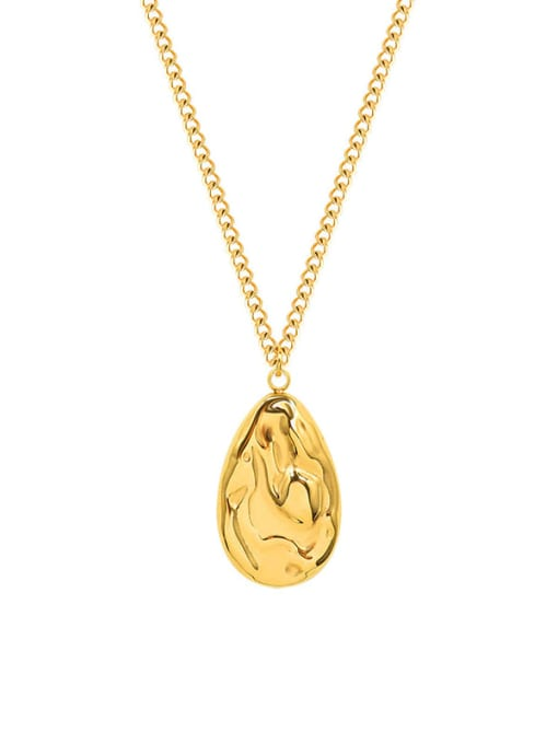 gold Titanium Steel Irregular Vintage Water Drop Shaped Necklace