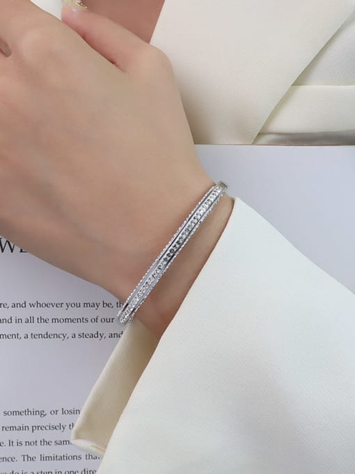 Z141 steel color Bracelet (inner 18cm) Titanium 316L Stainless Steel Cubic Zirconia Geometric Minimalist Band Bangle with e-coated waterproof