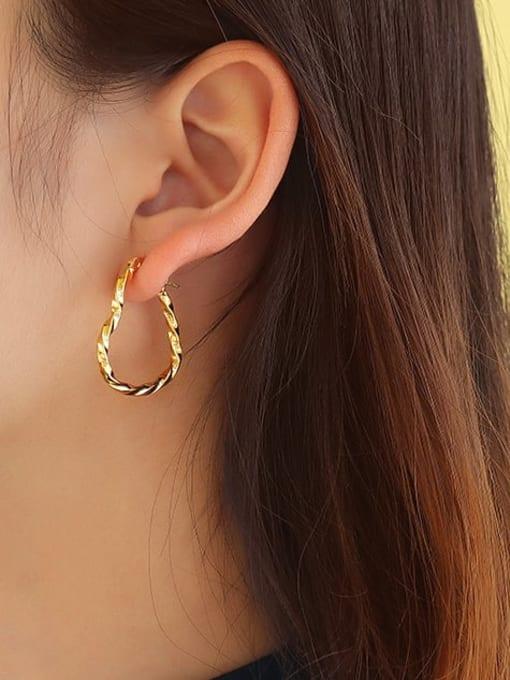 MAKA Titanium Steel Hollow Heart Minimalist Huggie Earring 1