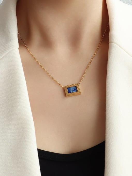 P1099 gold 43+5cm Brass Cubic Zirconia Geometric Minimalist Necklace