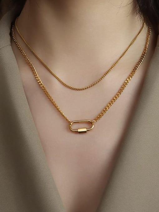 MAKA Titanium Steel Geometric Pin Vintage Multi Strand Necklace 1