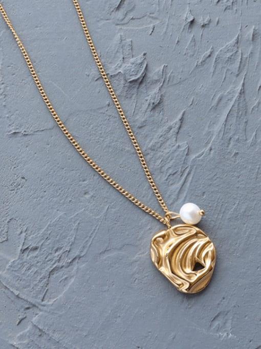 Gold necklace 40+5cm Titanium Steel Imitation Pearl Irregular Minimalist Necklace