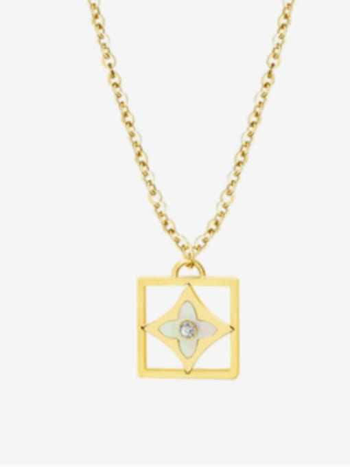 P615 gold necklace 45+5cm Titanium 316L Stainless Steel Shell Minimalist Geometric Earring and Necklace Set with e-coated waterproof