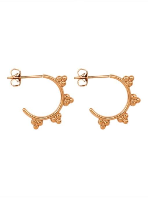 Rose Gold Titanium Steel Bead Triangle Minimalist Stud Earring