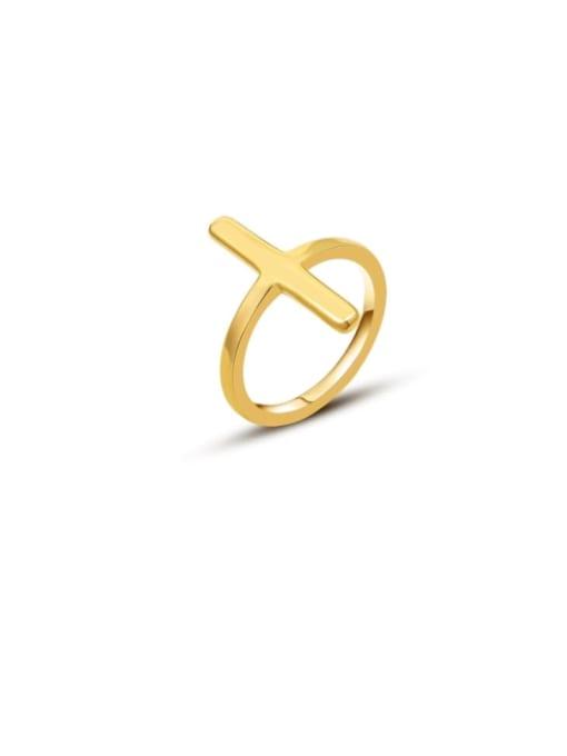 Gold Cross Ring Titanium Steel Smooth Cross Minimalist Band Ring