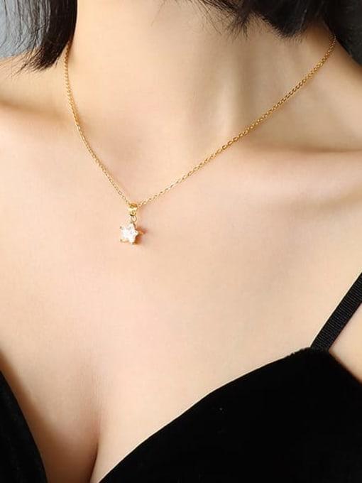 MAKA Titanium Steel Cubic Zirconia Star Minimalist Necklace 1