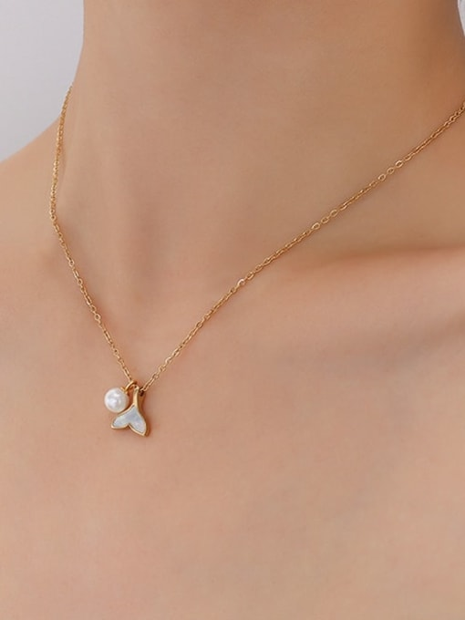 P331 gold necklace 40 +5cm Titanium Steel Shell Fish tail Minimalist Necklace