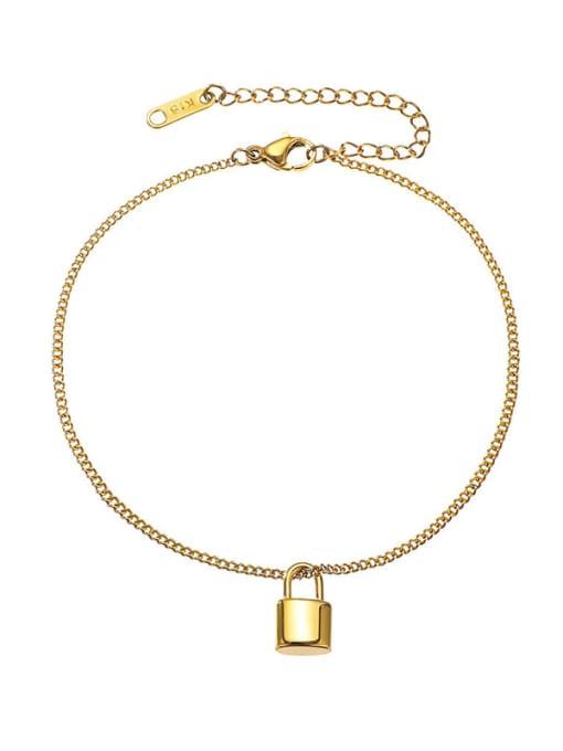 Gold 20 +5cm Titanium Steel Locket Minimalist  Anklet