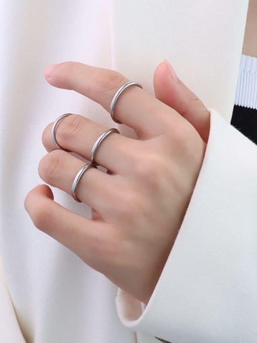 Steel color US 4 Titanium Steel Round Minimalist Band Ring