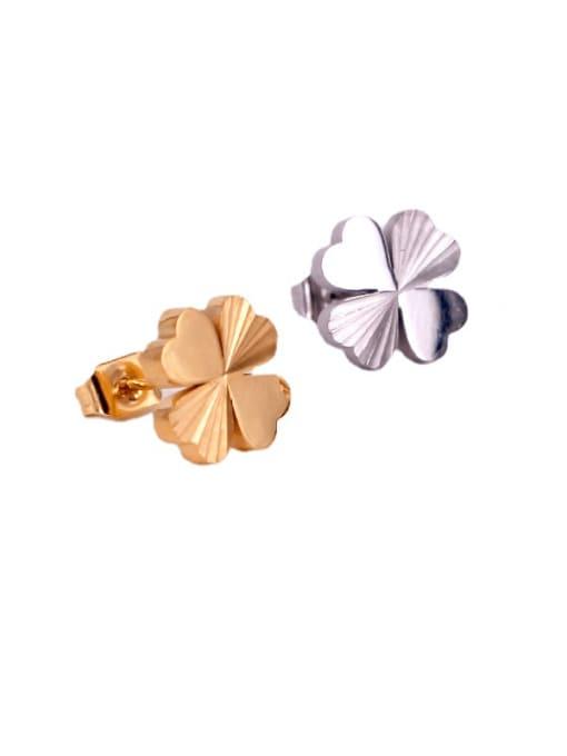 K.Love Titanium Steel Clover Minimalist Stud Earring 0
