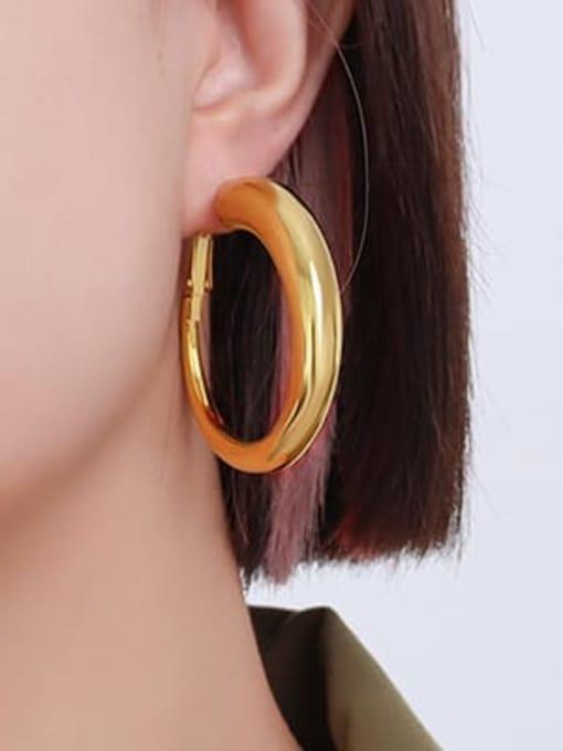 F237 gold earrings large Titanium Steel Geometric Minimalist Hoop Earring