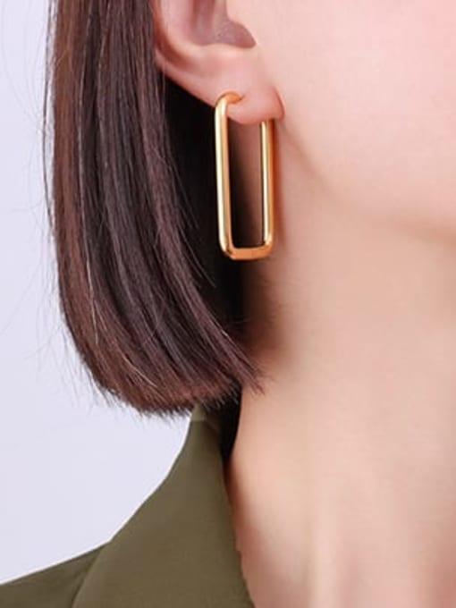 MAKA Titanium Steel Geometric Minimalist Huggie Earring 1