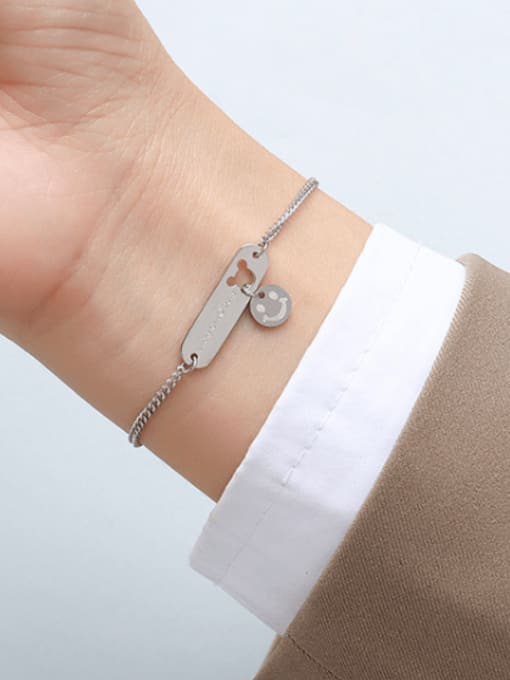 MAKA Titanium Steel Mouse Minimalist Link Bracelet 3