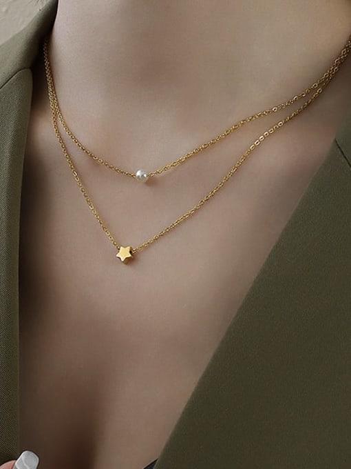 MAKA Titanium Steel Star Minimalist Multi Strand Necklace 1