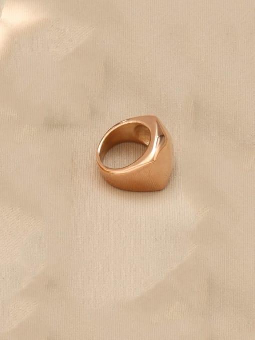 Rose gold Titanium Steel Smooth Geometric Artisan Band Ring
