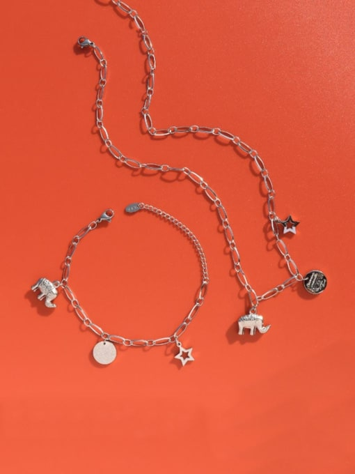 MAKA Titanium Steel Vintage Elephant  Braclete and Necklace Set 1