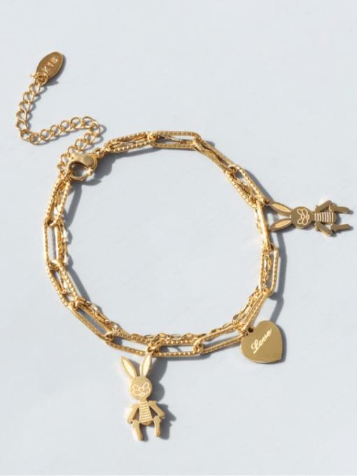 Gold Titanium Steel Heart Vintage Strand Bracelet