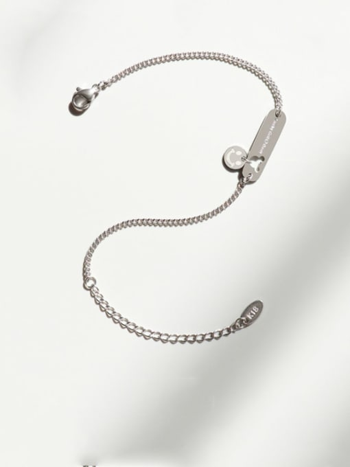 Steel color Bracelet 15 cm Titanium Steel Mouse Minimalist Link Bracelet
