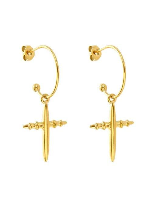 gold Titanium Steel Cross Minimalist Hook Earring