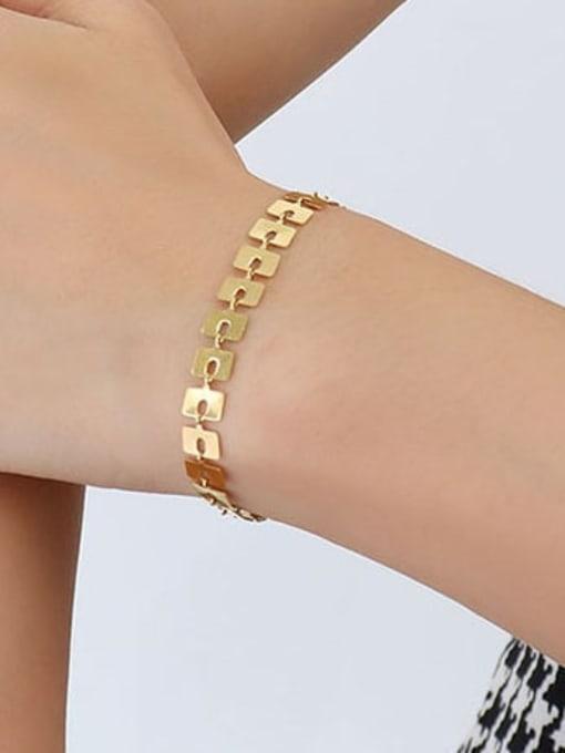 E143 gold brand Bracelet 15+ 5cm Titanium Steel Geometric Minimalist Link Bracelet
