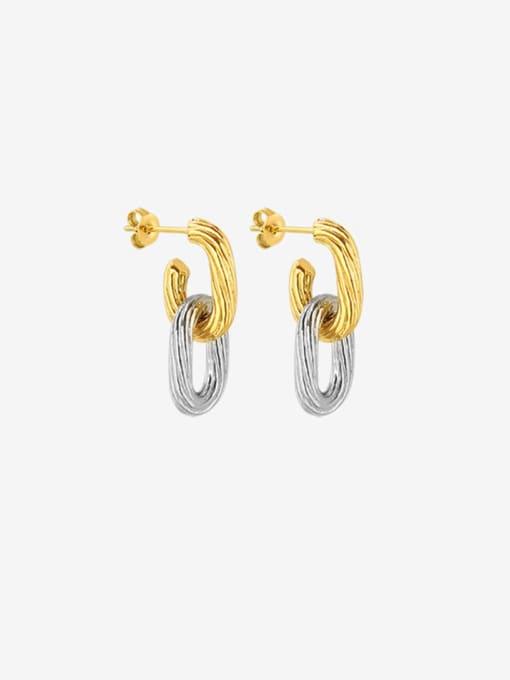 Gold+steel Titanium Steel Geometric Minimalist Drop Earring