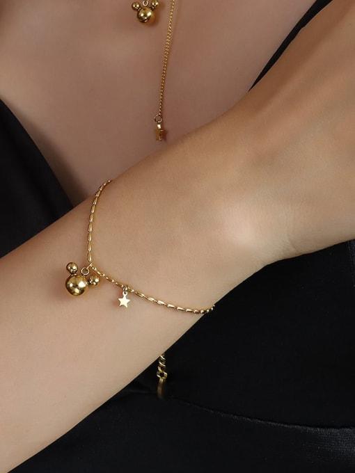 E113 gold bracelet 17 +5cm Titanium 316L Stainless Steel Bead Minimalist Irregular  Braclete and Necklace Set with e-coated waterproof