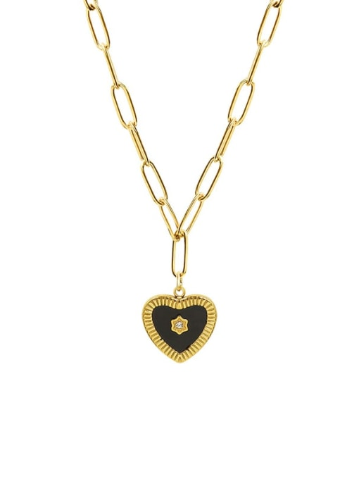 Golden 52+ 5cm Titanium Steel Enamel Heart Minimalist Necklace