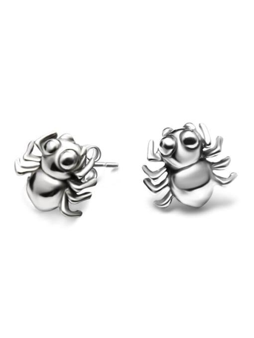 MAKA Titanium Steel Bug Hip Hop spider Stud Earring 0